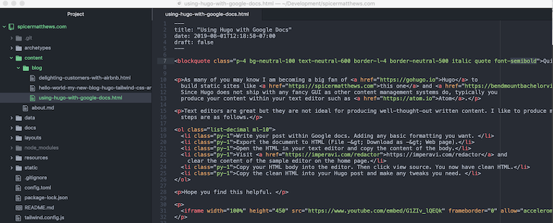 Editing Hugo Post in Atom